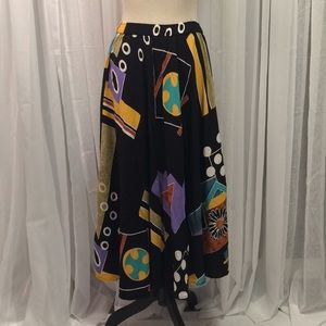 '90s Vintage Eccentric Black Pattern Long Skirt